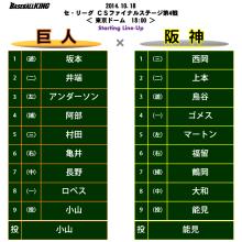巨人、4番阿部以外は全員変更!阪神は福留が復帰 セCSファイナル第4戦スタメン