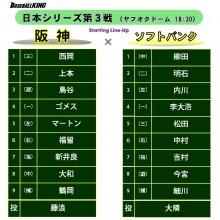 阪神の指名打者は新井良太、ソフトバンクは明石が2番に戻る 日本S第3戦スタメン
