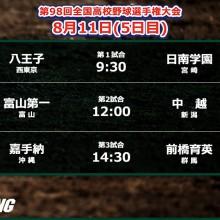【甲子園】あすは3試合の開催…初出場の八王子&嘉手納が登場! 5日目の予定