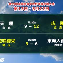 広陵が10年ぶり、花咲徳栄は初の決勝進出! 夏の甲子園・13日目の結果