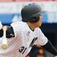 ロッテ菅野、2番に入り3安打1打点 二塁打2本、開幕スタメンへ前進