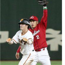 巨人・重信、安打で出塁も…痛い盗塁失敗