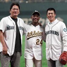 マリナーズOBの佐々木氏と城島氏が始球式「シアトルでは良い思い出ばかり」