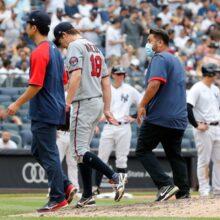 前田健太、5回途中5失点で5敗目 9球連続ボール後、右前腕の張り訴え降板