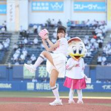 好調ロッテを首位に導いた?鈴木愛理さん、キュートな始球式「楽しんで投げられました」